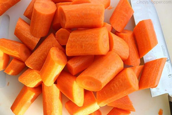 Cut carrots.