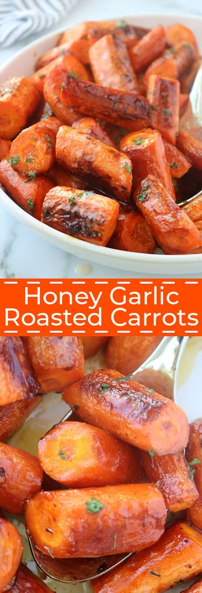 Long collage of honey garlic roasted carrots.