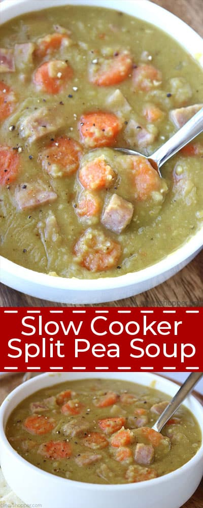 Long collage of split pea soup with ham.