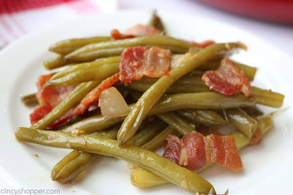 Traditional southern green beans on plate.