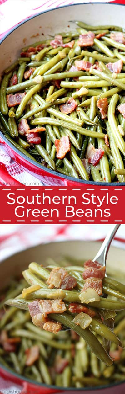 Long image of southern green beans with bacon.