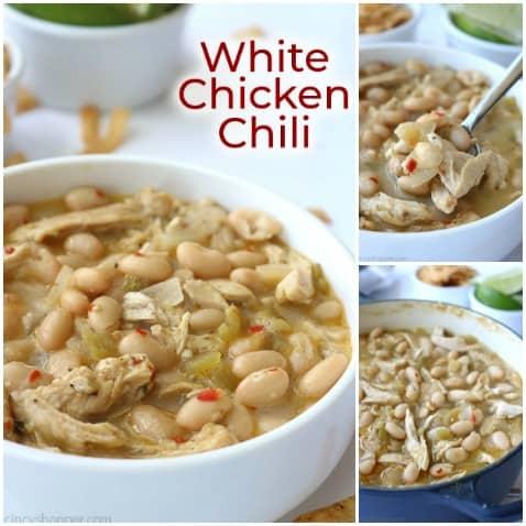 Collage of White Chicken Chili