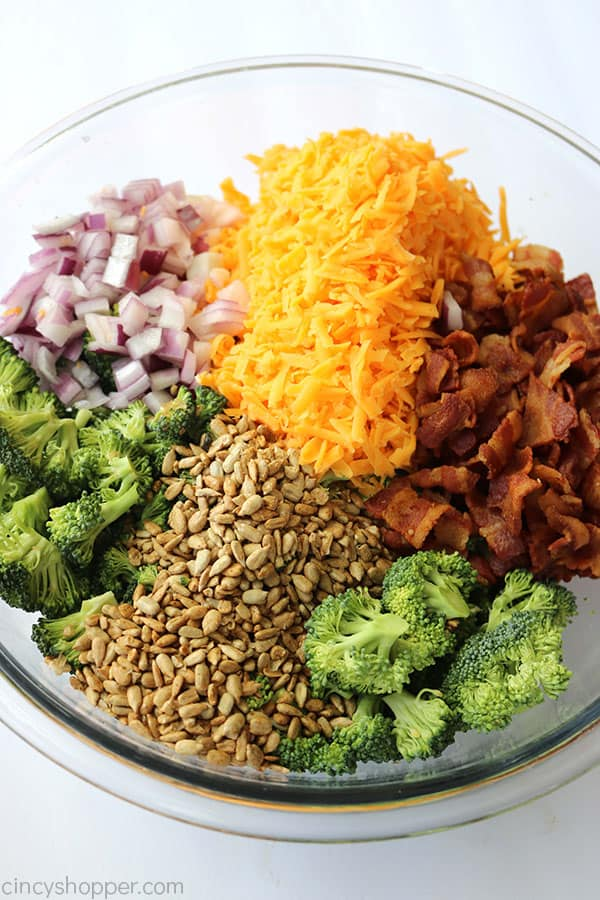 Broccoli Salad ingredients in a bowl.