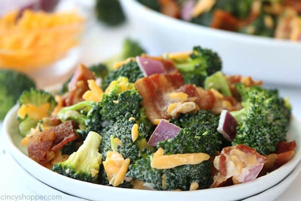 Creamy broccoli salad on a small plate.