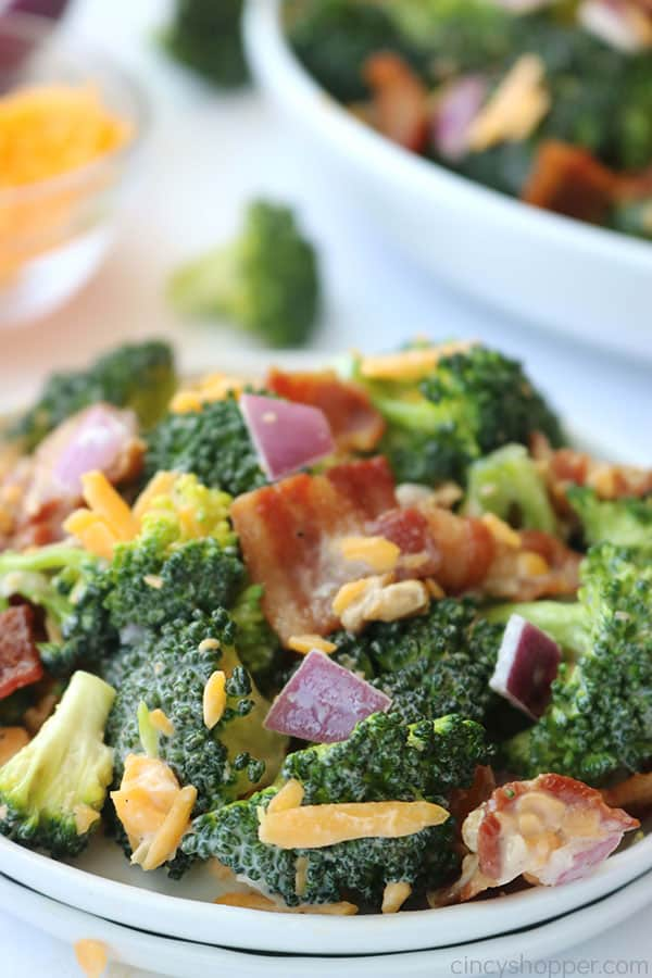 Broccoli salad on a plate.
