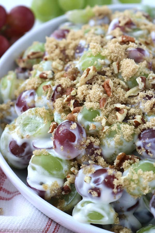 Bowl with grape salad.