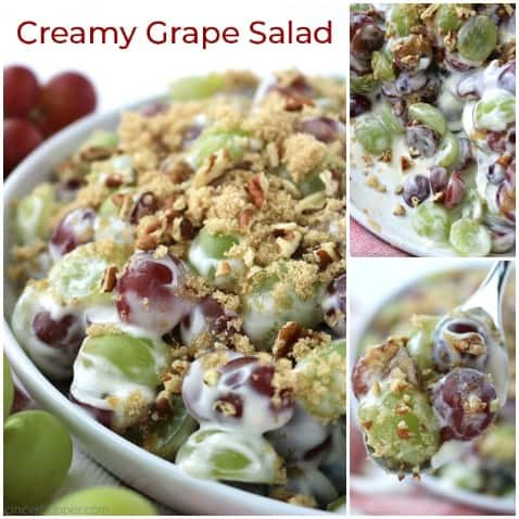 Small collage of creamy grape salad.