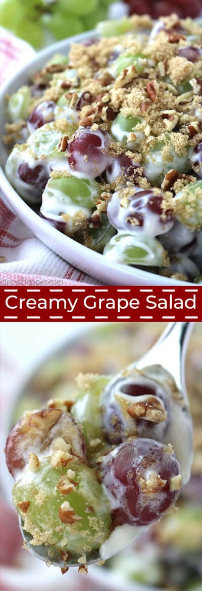 Long collage of grape salad.