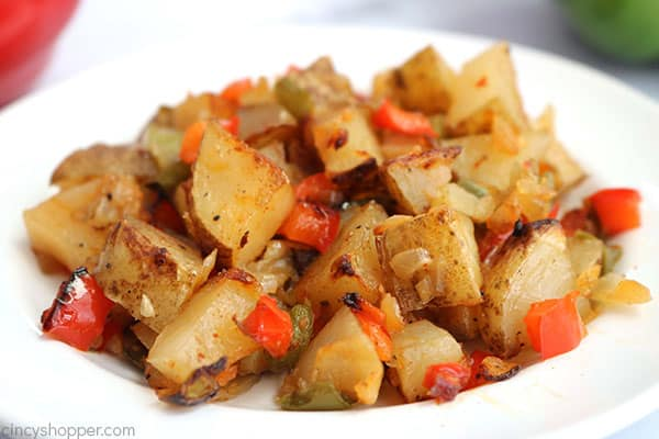Easy breakfast potatoes on a plate.