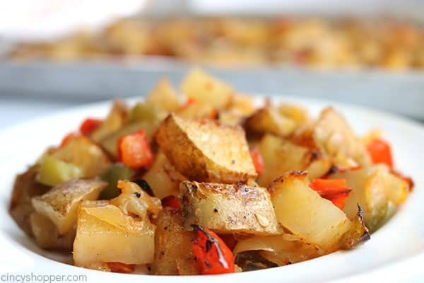 Oven baked breakfast potatoes with peppers and onions.