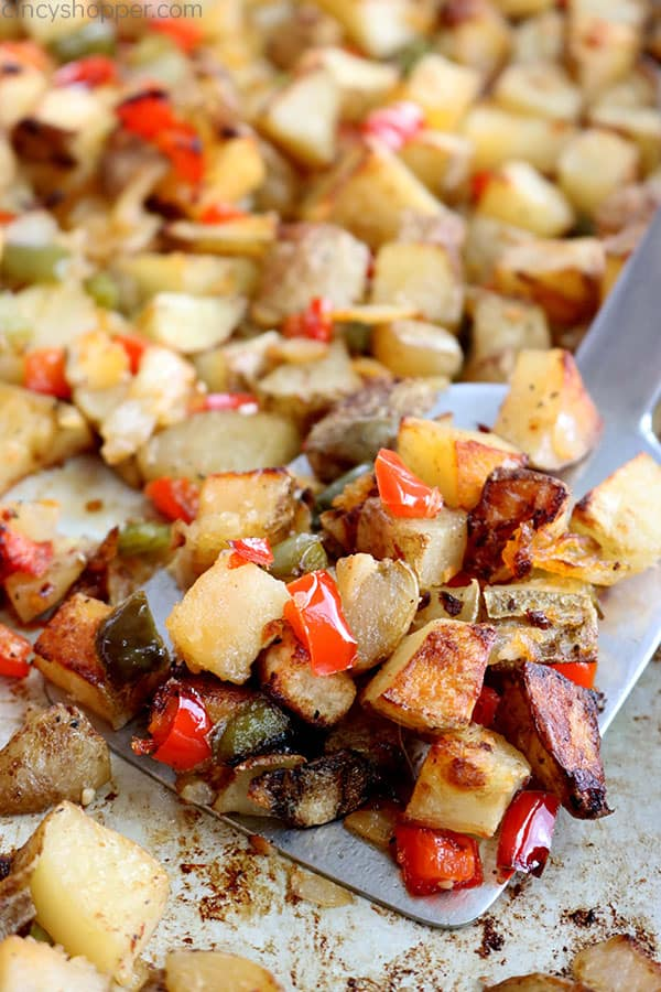 Easy breakfast potatoes with peppers and onions.