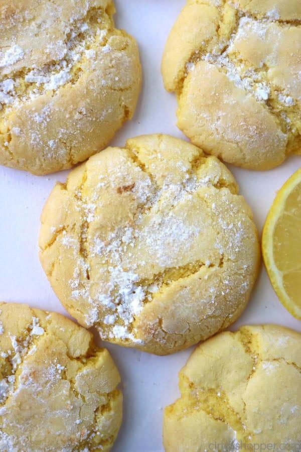 Lemon Cake Mix Cookies on white background.
