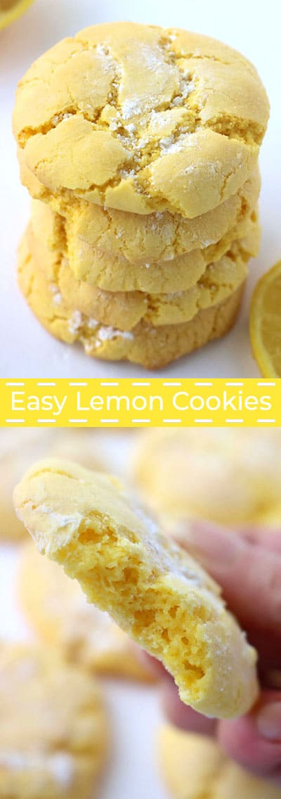 Collage with easy lemon cookies.