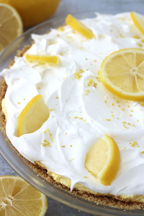 Easy Lemon Pie uncut in pie dish.