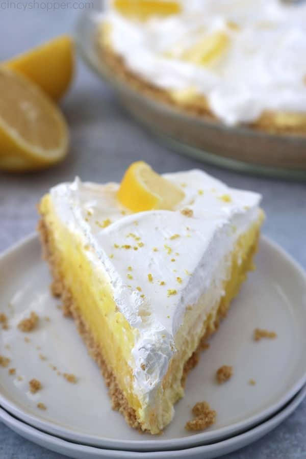 No Bake Lemon Pie slice on plate.