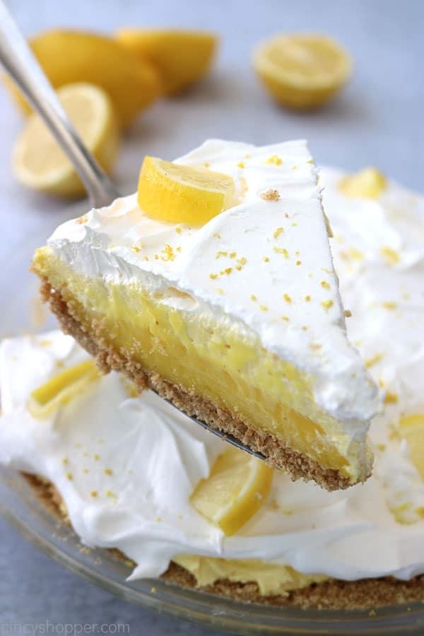 Slice of Easy Lemon Pie on server.