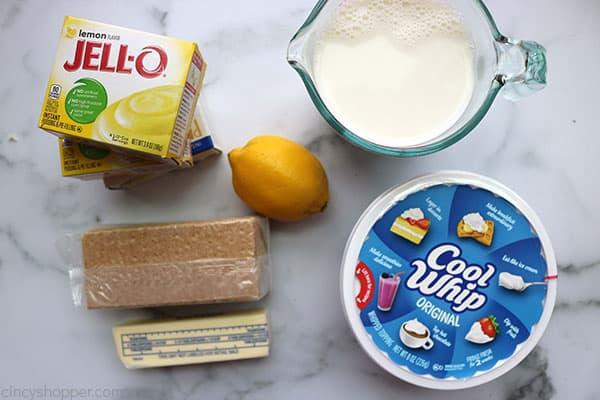 Ingredients to make easy lemon pie.
