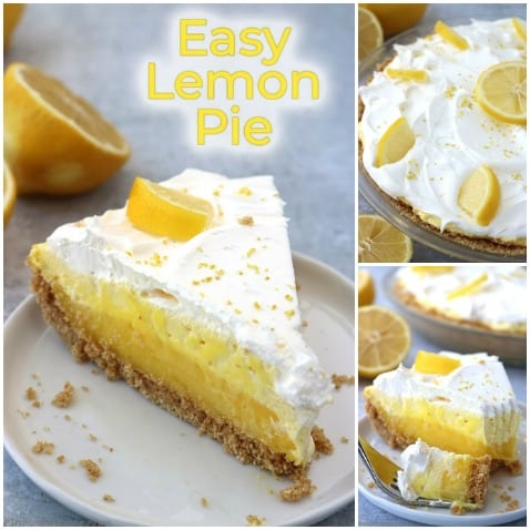 Collage with text of easy lemon pie.