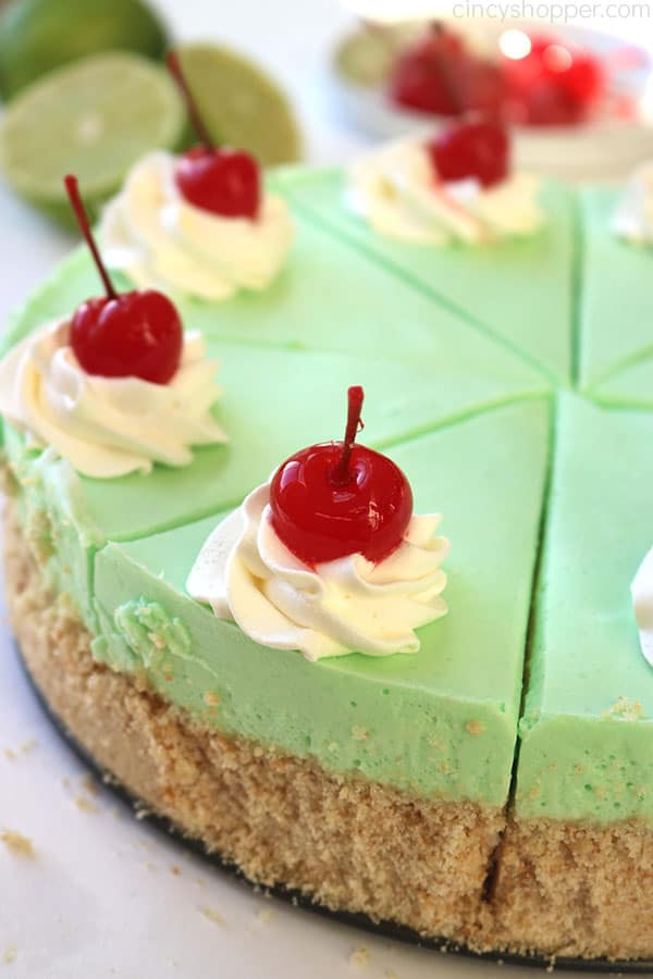 Lime Cheesecake cut in slices.