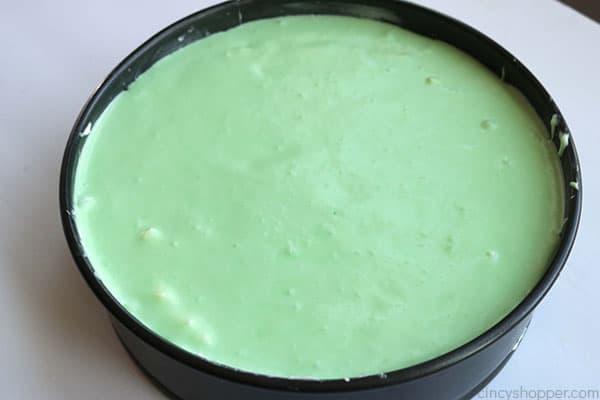 Adding lime layer to top no bake lime cheesecake.