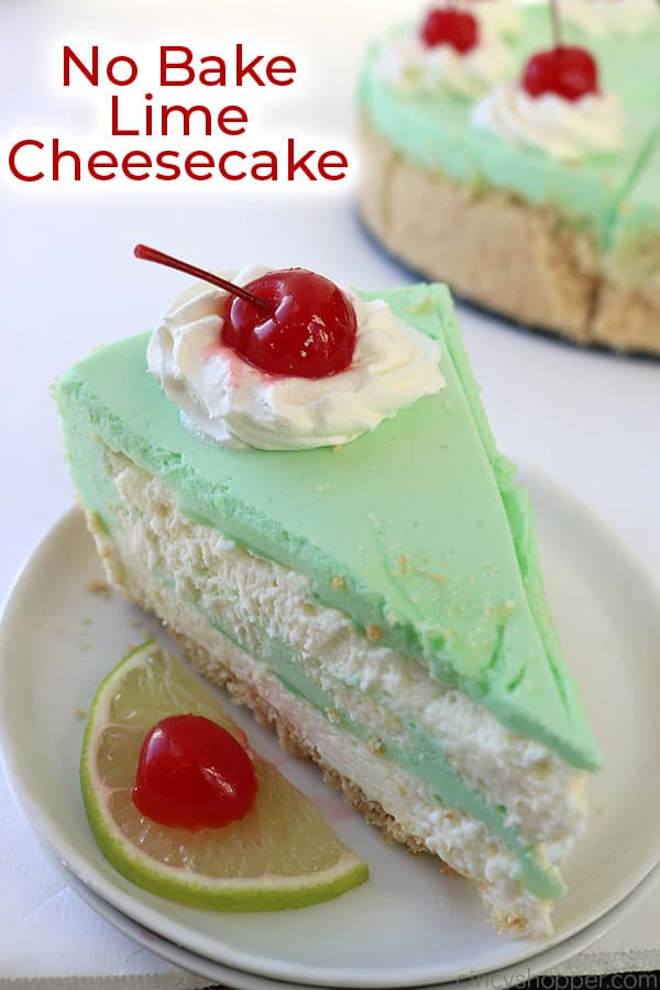 Slice of lime cheesecake on a plate with text.