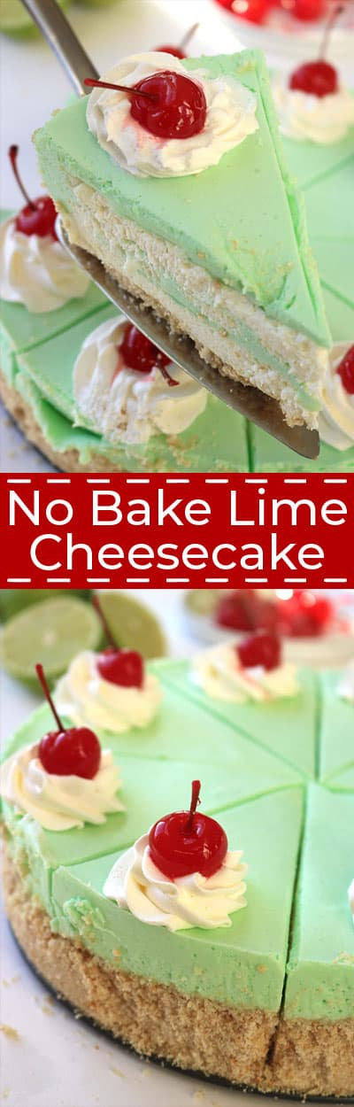 Lime Cheesecake collage with text.