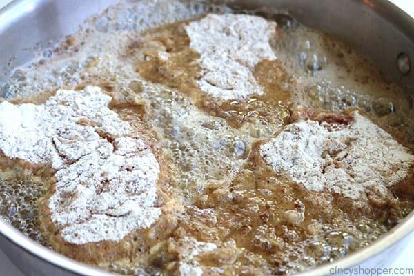 Pan frying chicken fried steaks