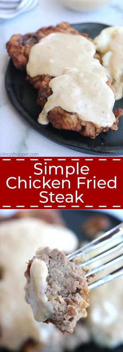 Chicken fries steak long collage.