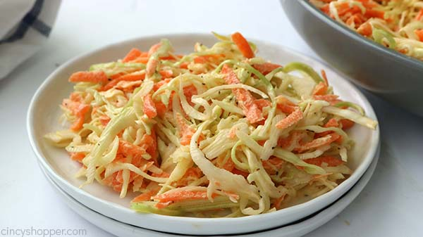 Creamy coleslaw on a plate.