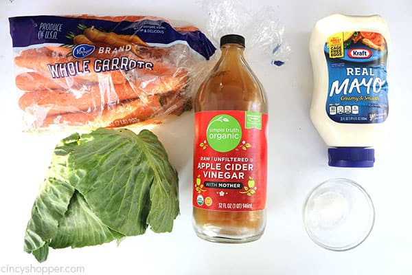 Ingredients to make creamy coleslw