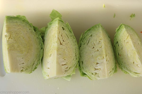 Cut cabbage for making creamy coleslaw