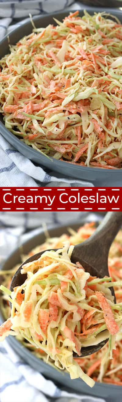 Long collage of creamy coleslaw