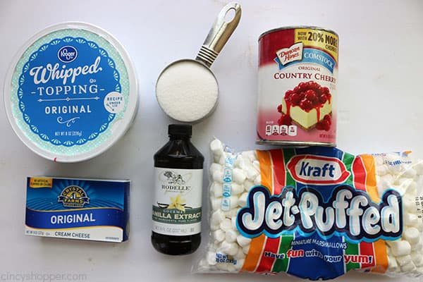 The ingredients needed to make Cherry Fluff.