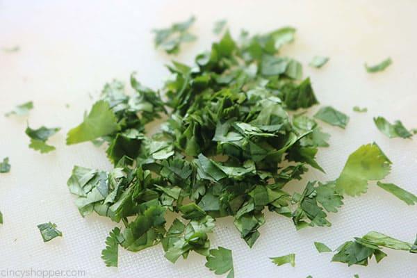 Chopped cilantro for homemade Pico de Gallo recipe.