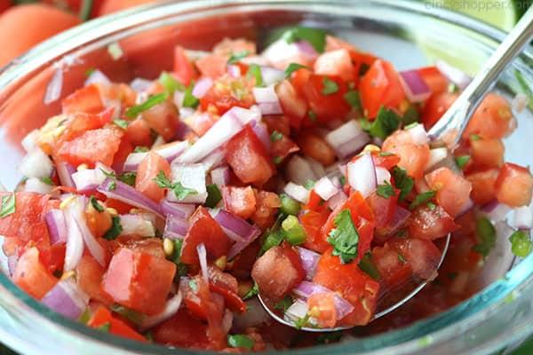 Easy Pico de Gallo salsa in a bowl.