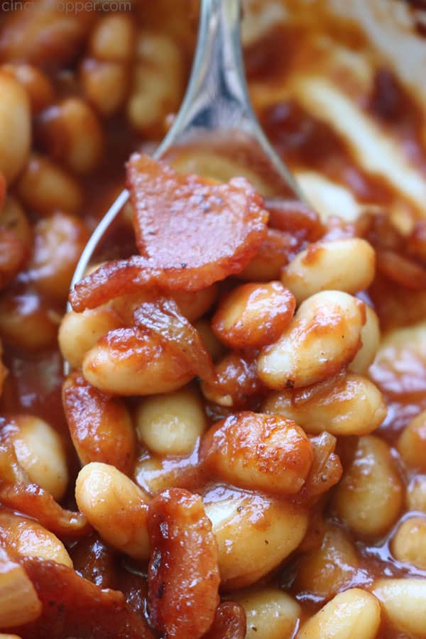 Root Beer Baked Beans on a spoon