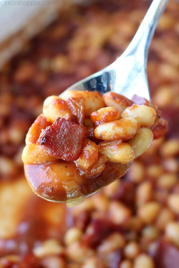 Baked Beans with Bacon and onion on a spoon.
