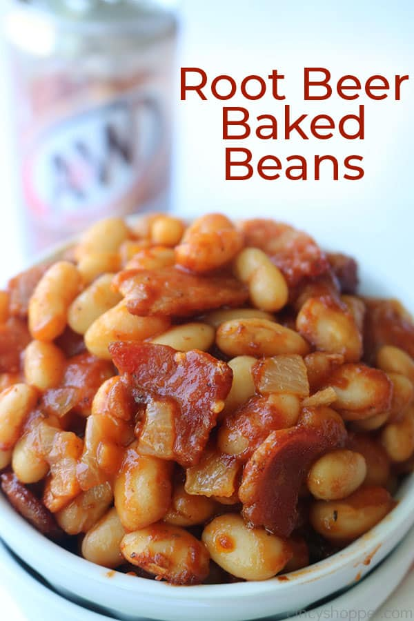 Baked Beans in a bowl with text.