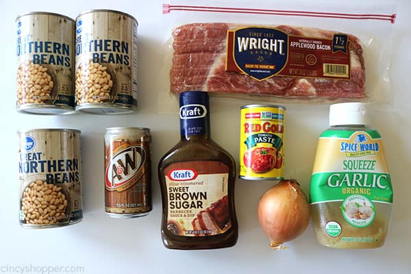 Ingredients to make Root Beer Baked Beans