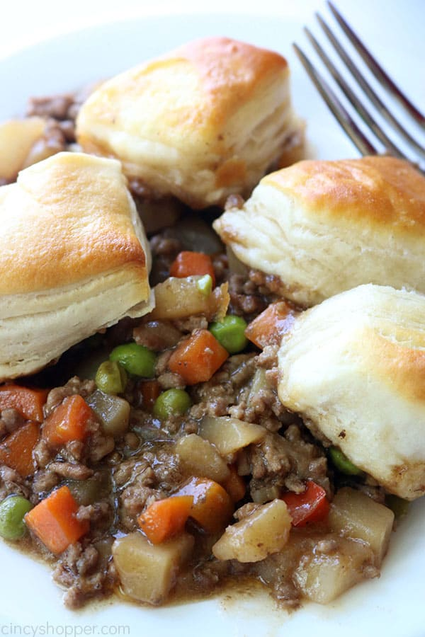 Ground Beef and Biscuits on a plate.