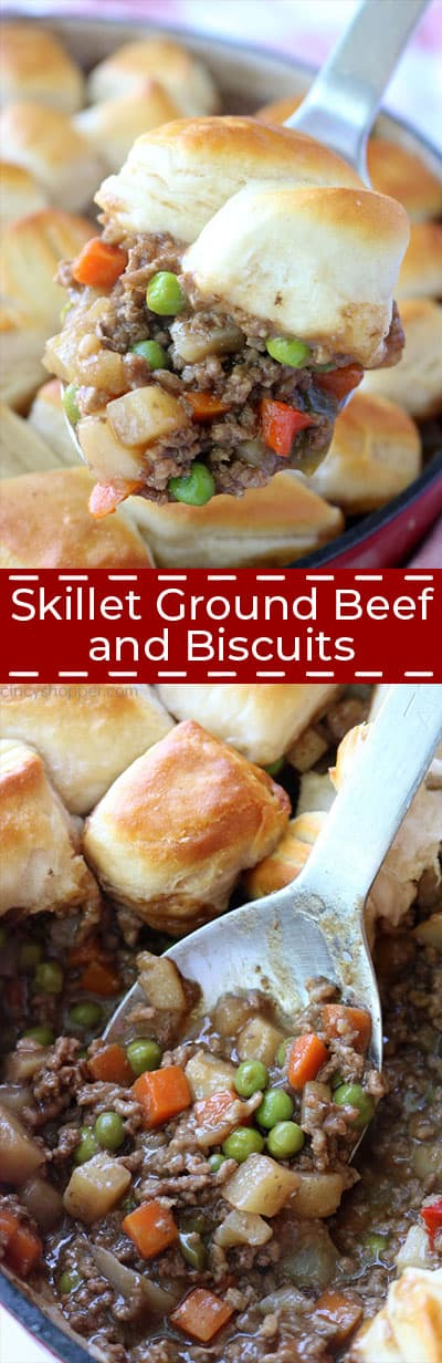 Skillet Ground Beef and Biscuits dinner