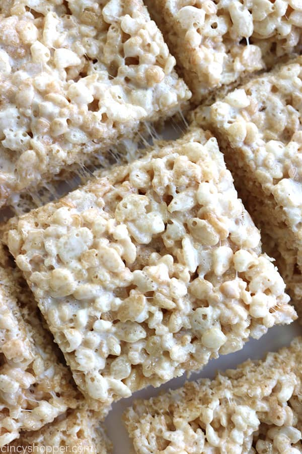 Thick and Chewy Rice Krispie Treats on a pan.