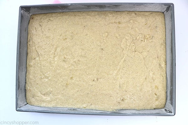 Banana cake batter in prepared pan.