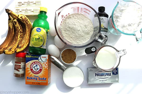 Ingredients to make Banana Cake.