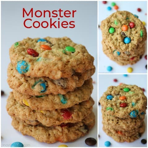 Small collage of baked Monster Cookies.