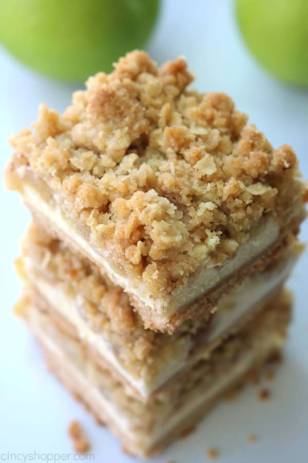 Streusel topped apple cheesecake bars.