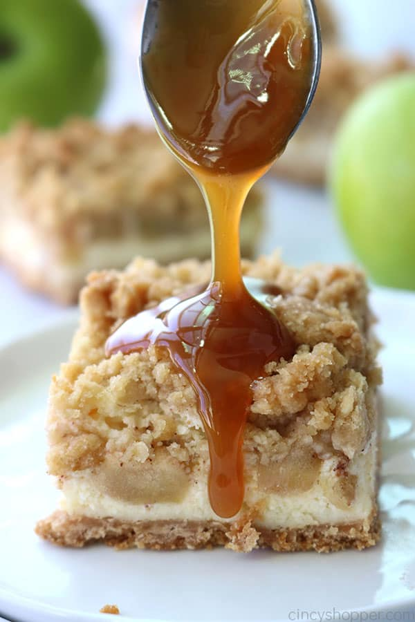 Caramel topped apple cheesecake bars.