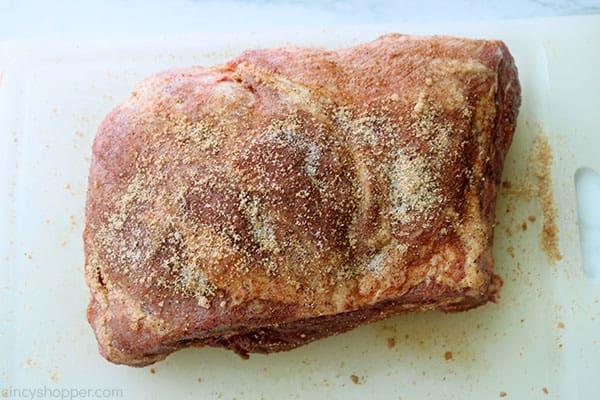 Pork rub added to butt for Slow Cooker Shredded Pork.