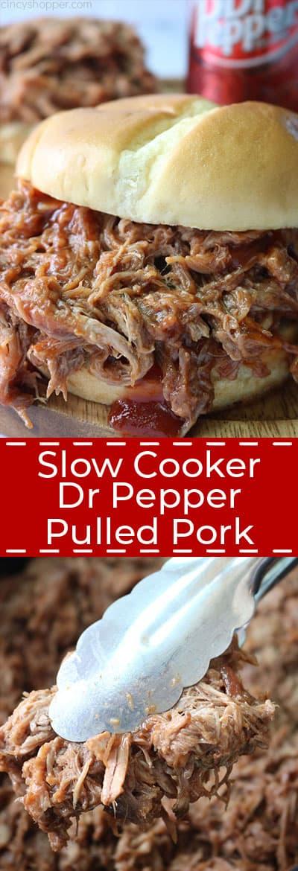Slow Cooker Dr. pepper Pulled Pork collage.