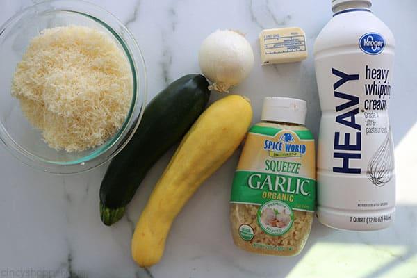 Ingredients to make Parmesan Zucchini Casserole